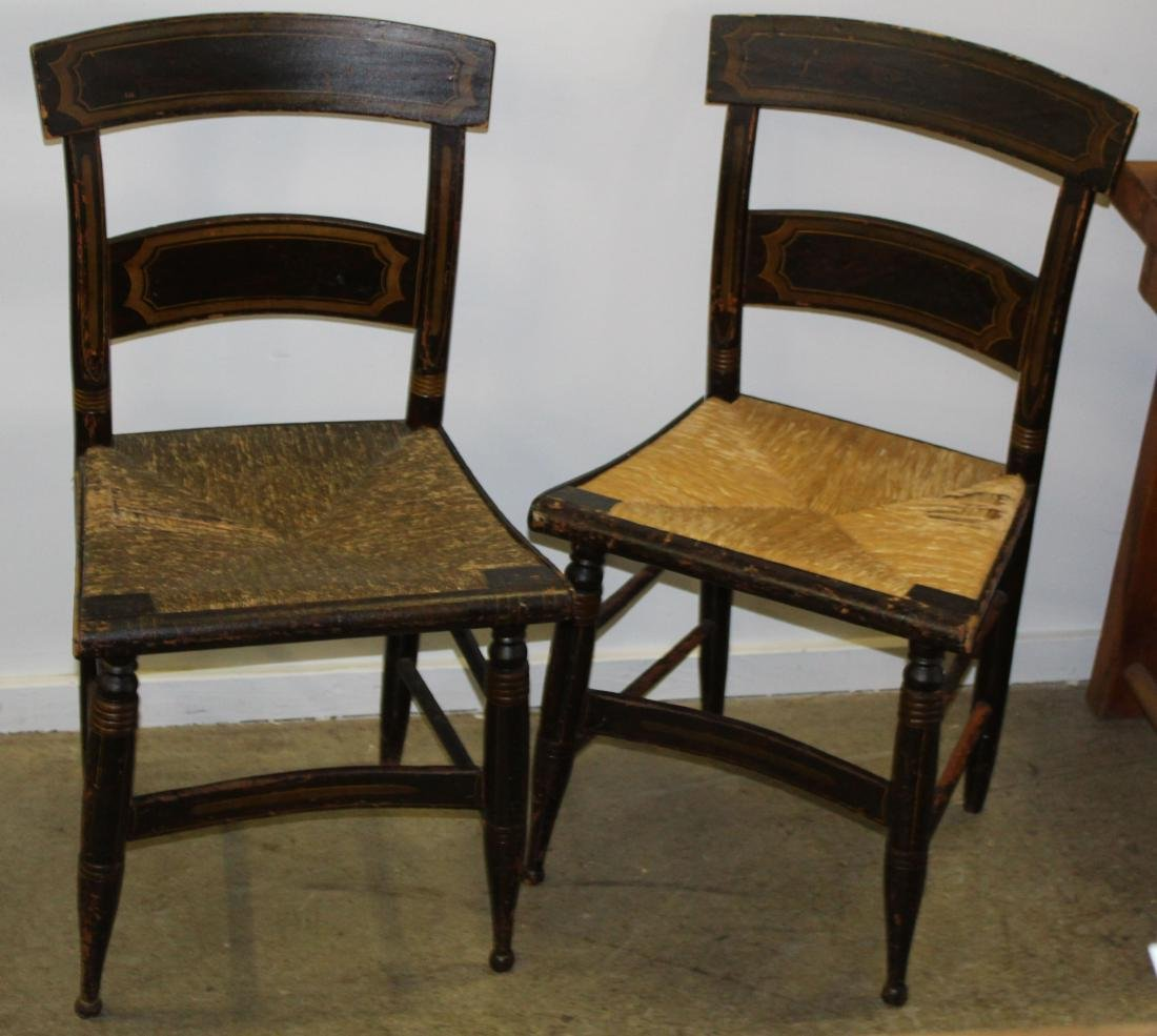 Pair of Sheraton rush seat paint decorated chairs