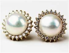 Mabe pearl, 1.25 ct diamond, & 14k earrings