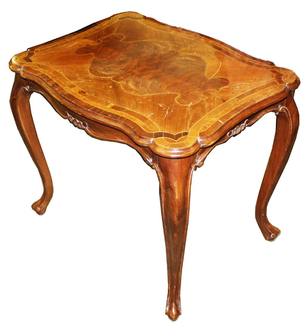French style walnut end table with marquetry top