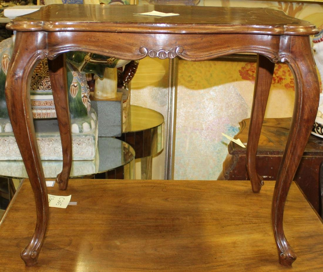 French style walnut end table with marquetry top - 2