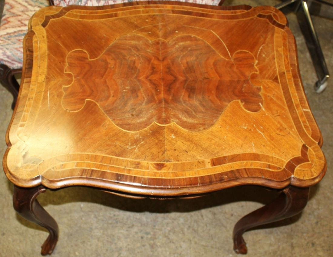 French style walnut end table with marquetry top - 3