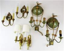 mid late 20th c wrought steel brass sconces