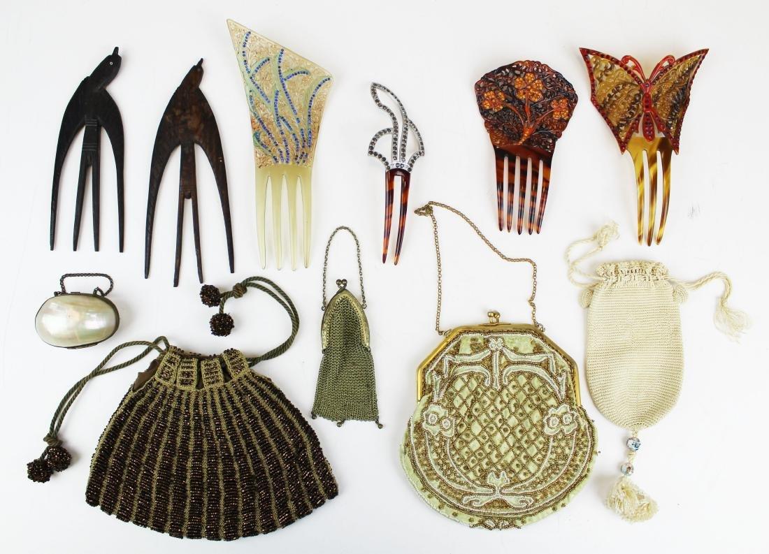 vintage beaded purses & tuck combs