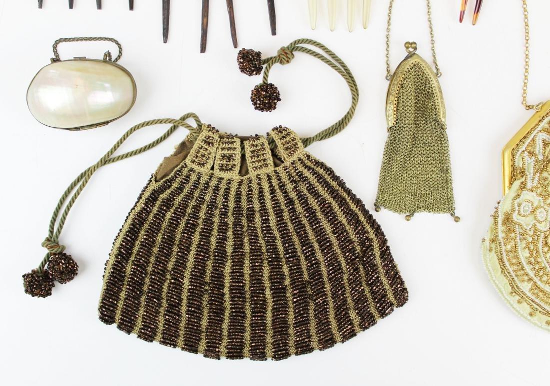vintage beaded purses & tuck combs - 3