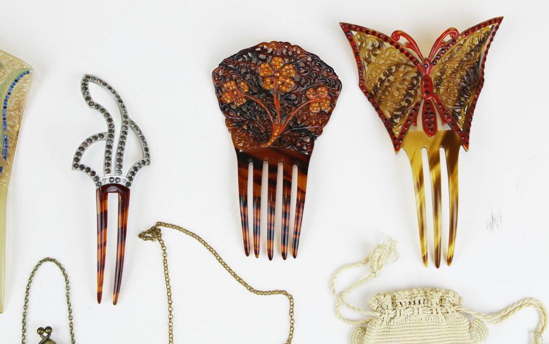 vintage beaded purses & tuck combs - 5