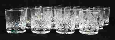 set of 12 cut glass rocks glasses