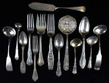 14 pcs. Coin and sterling silver flatware