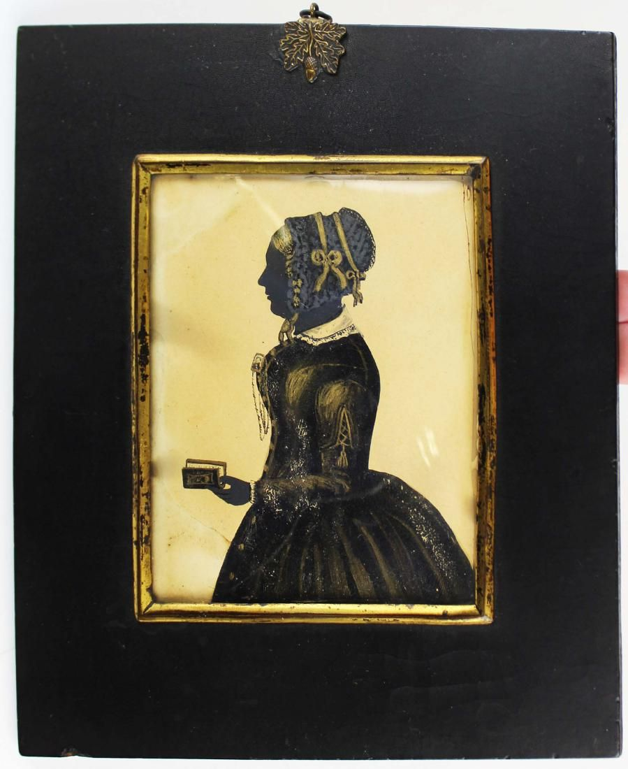 18th c 3/4 portrait ink silhouette of a lady