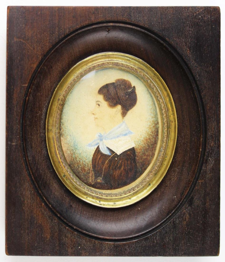 early 19th c miniature watercolor portrait