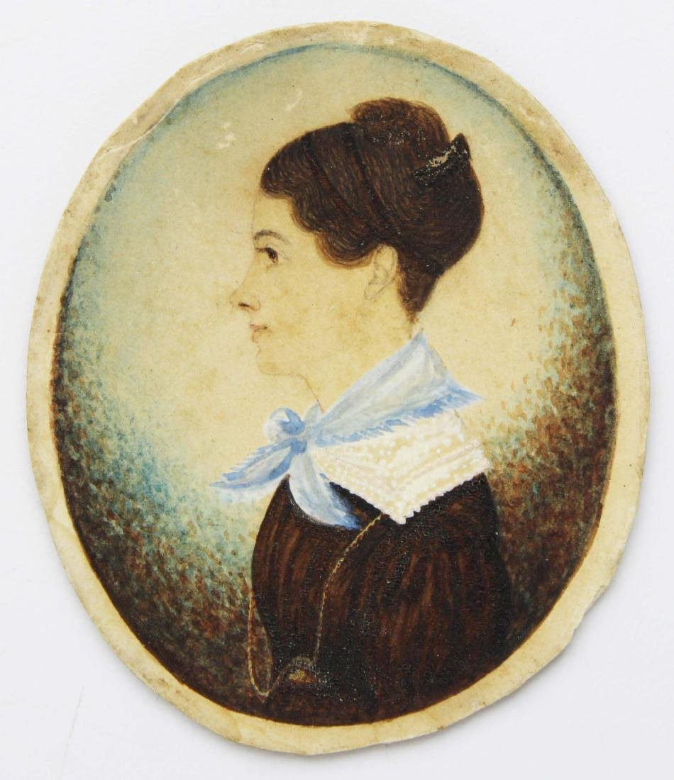 early 19th c miniature watercolor portrait - 2