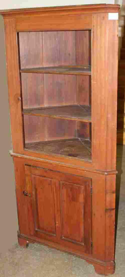 19th c. pine open top 1 door corner cupboard