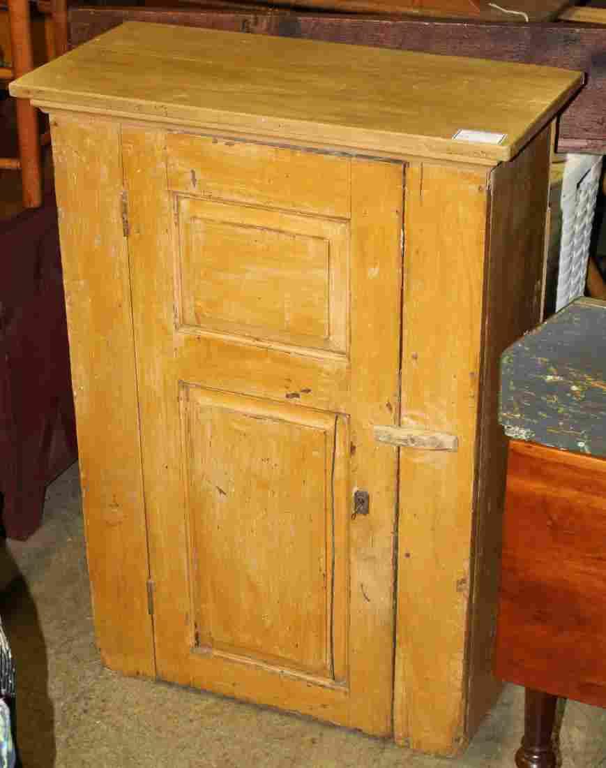 19th c. 1 door jelly cupboard in yellow paint
