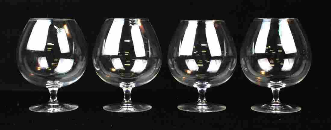4 Steuben crystal blown glass brandy snifters