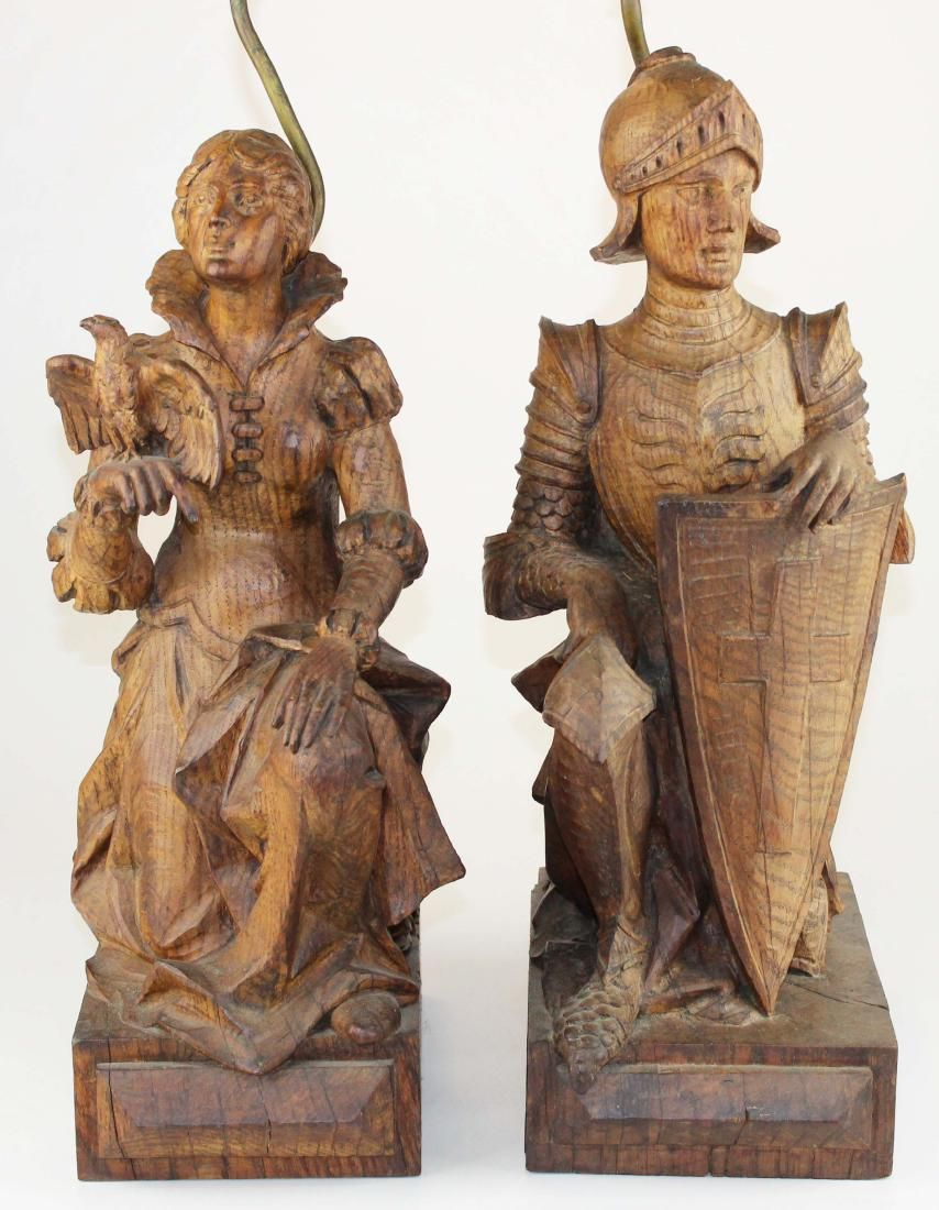 Pr 19th c Continental walnut carved figural lamps