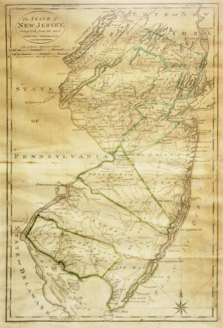1795 map of the State of New Jersey