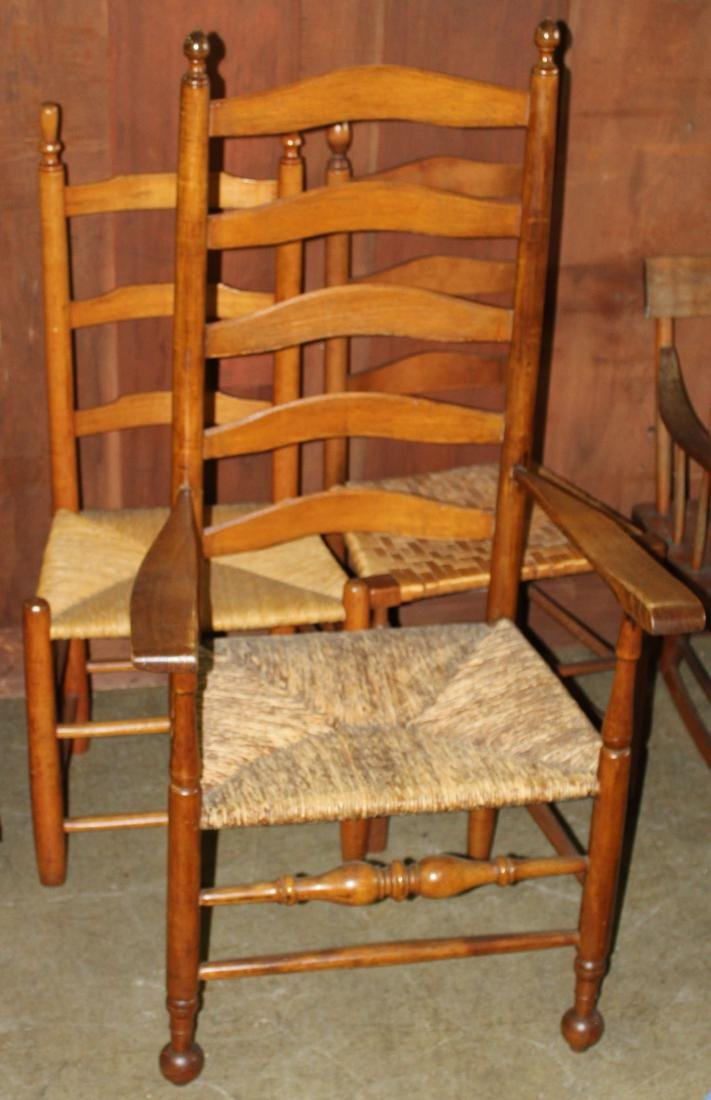 group of 3 19th c. ladder back chairs