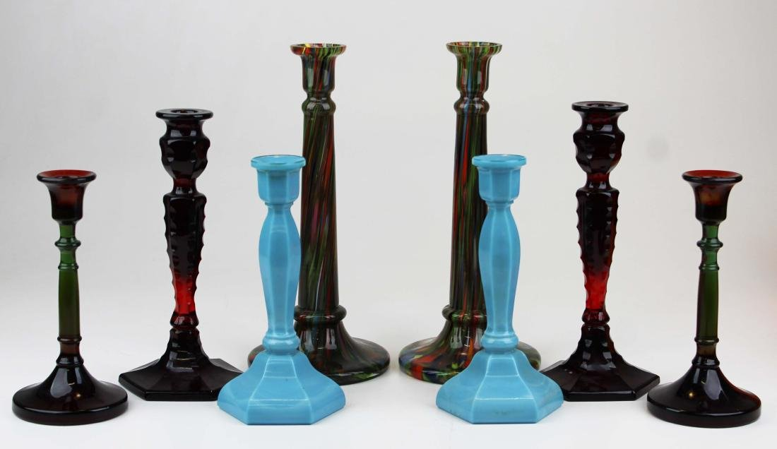 lot of 4 pairs of art glass candlesticks - 2