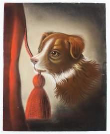 ca 1850 sandpaper picture of a puppy