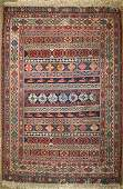 early 20th c Sehna/ Soumak flat woven kilim area rug
