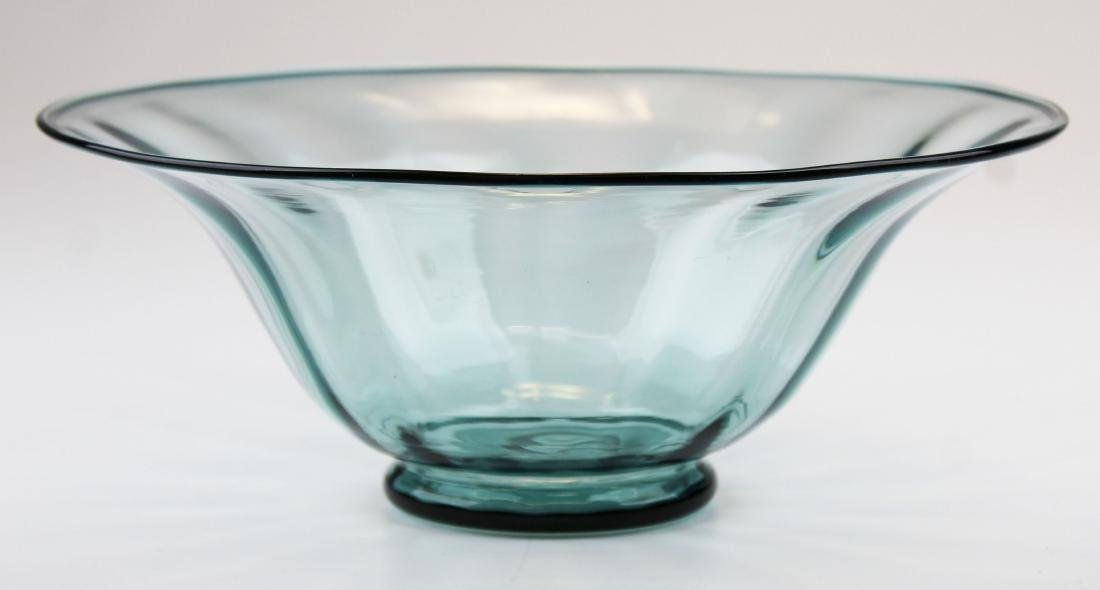 Steuben Carder era blown blue art glass bowl