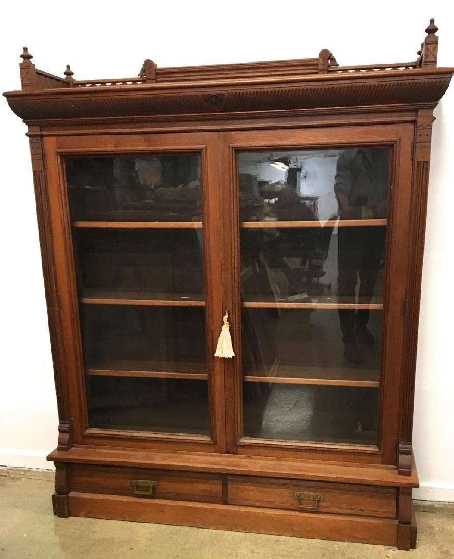 Victorian Eastlake mahogany 2 door bookcase