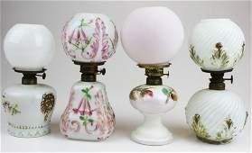 4 Victorian milk glass miniature oil lamps