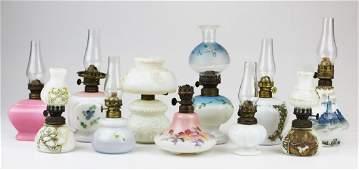 11 Victorian milk glass miniature oil lamps