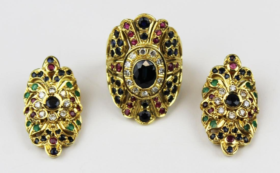 3 pc set 18 k, sapphire, emerald diamond, & ruby