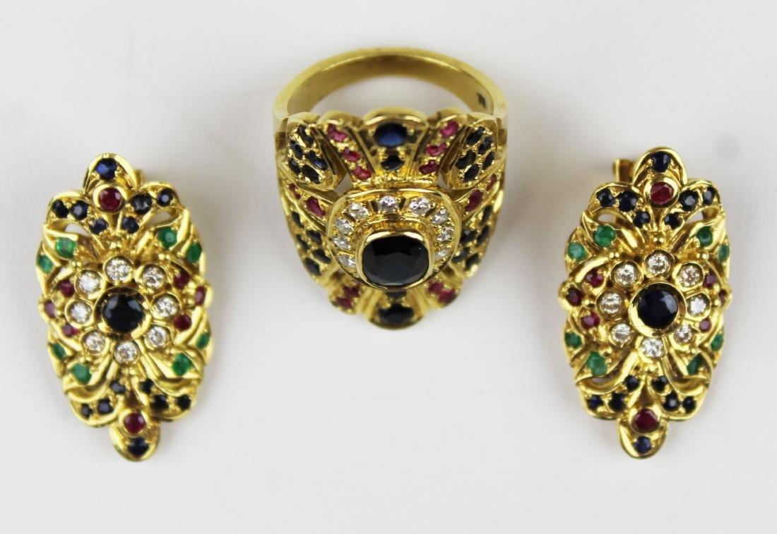 3 pc set 18 k, sapphire, emerald diamond, & ruby - 2