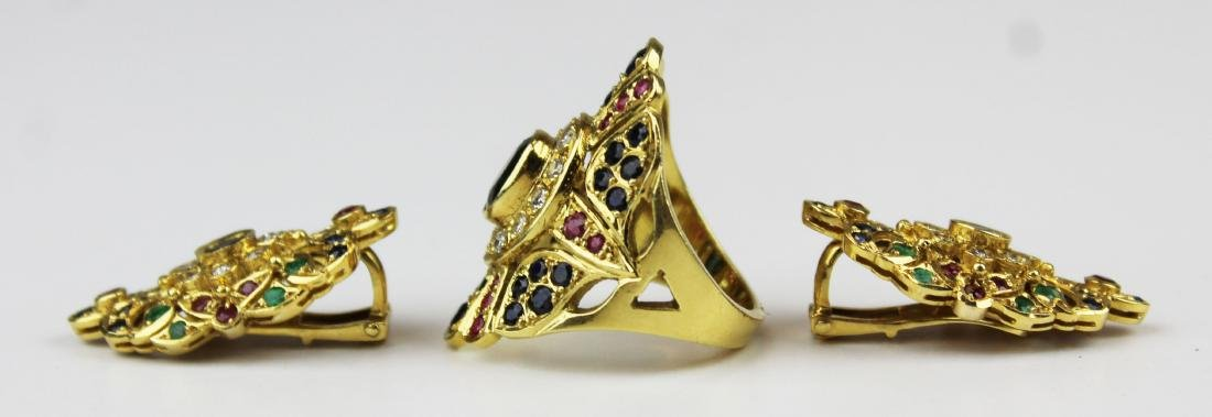 3 pc set 18 k, sapphire, emerald diamond, & ruby - 3