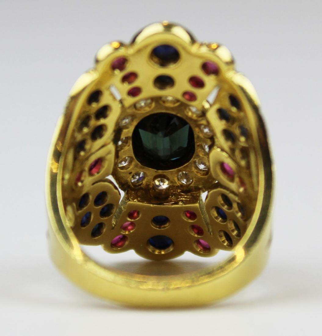 3 pc set 18 k, sapphire, emerald diamond, & ruby - 6