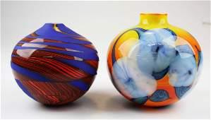 2 Contemporary studio art glass vases