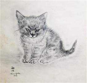 Leonard Tsuguharu Foujita 1929 Cat lithograph
