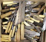 large group of 18th, 19th c forks & knives
