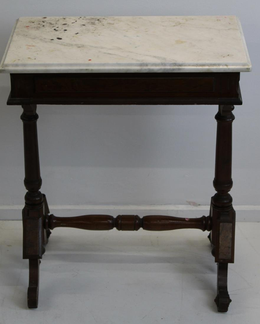 Victorian walnut marble top writing desk