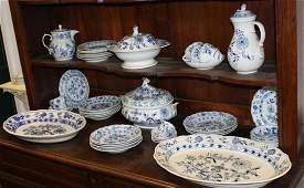 43 pcs. Meissen style Blue Onion porcelain
