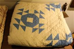 early 20th c blue  white pieced quilt