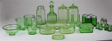 Green Depression glass kitchen glassware