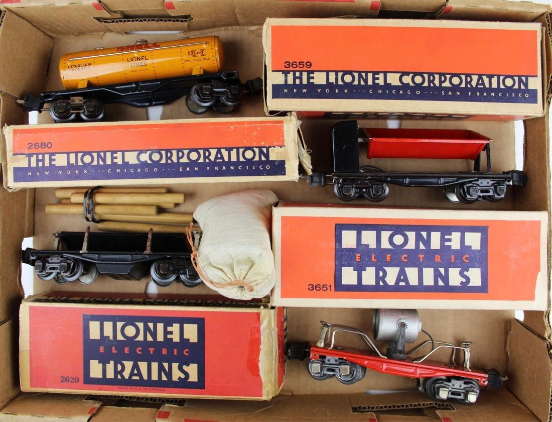 nine Lionel Pre-War freight cars