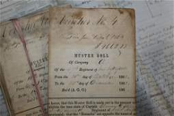 Approx. 117 Civil War Indiana Muster Rolls & documents