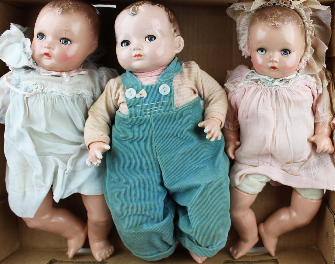 three Effanbee, Ideal composition dolls