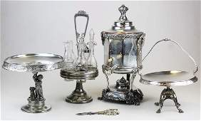 5 pcs. Ornate Victorian silverplated tableware