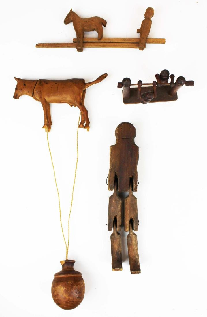 19th- early 20th c folk art carved wooden toys