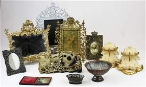 Victorian gilt metal stand frames corbels etc
