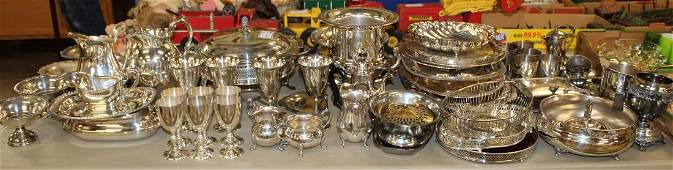table lot of quality silver-plated hollowware