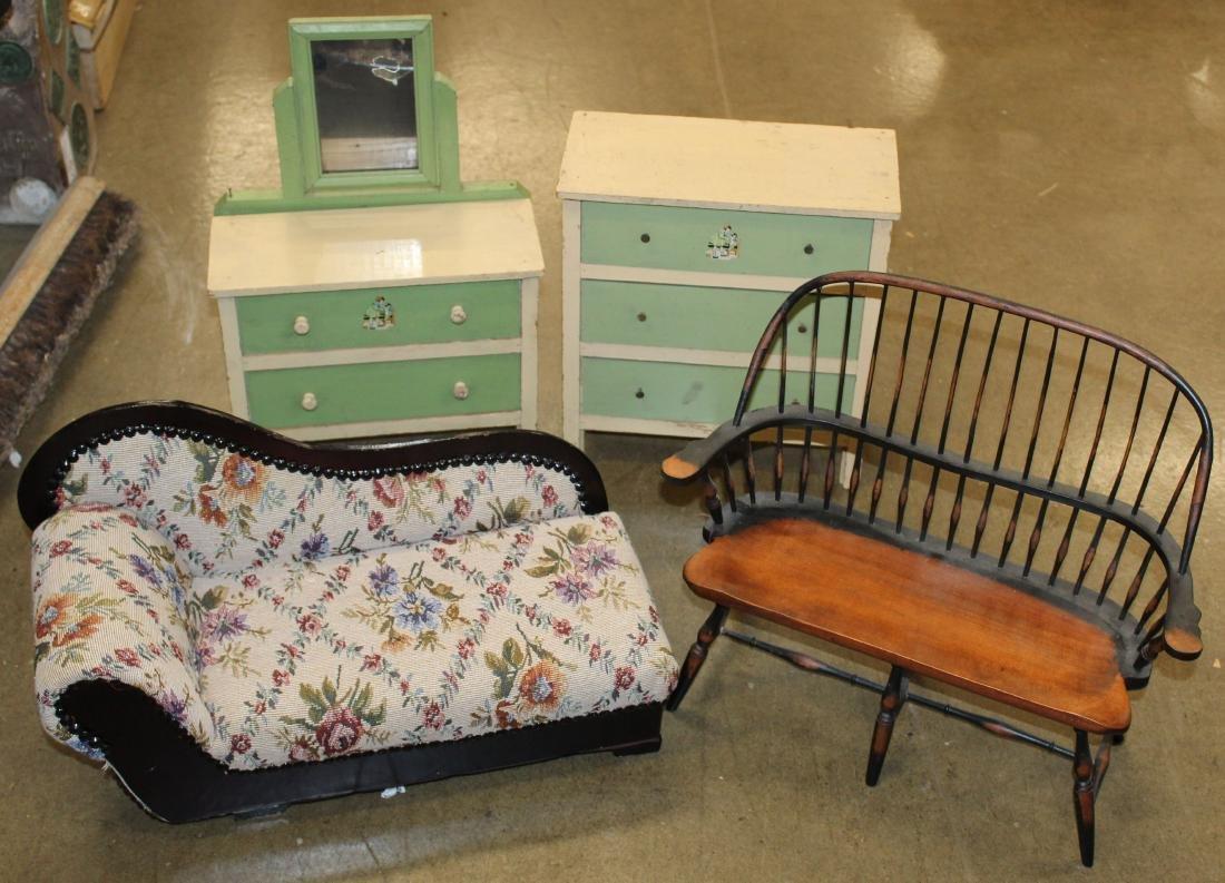 doll recamier, two dressers, Windsor settee