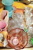 large group of vintage glassware and art pottery