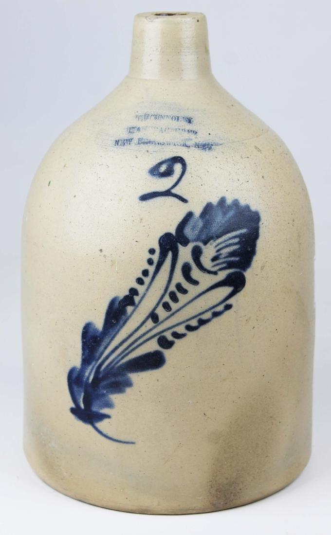 Two gallon blue decorated stoneware jug