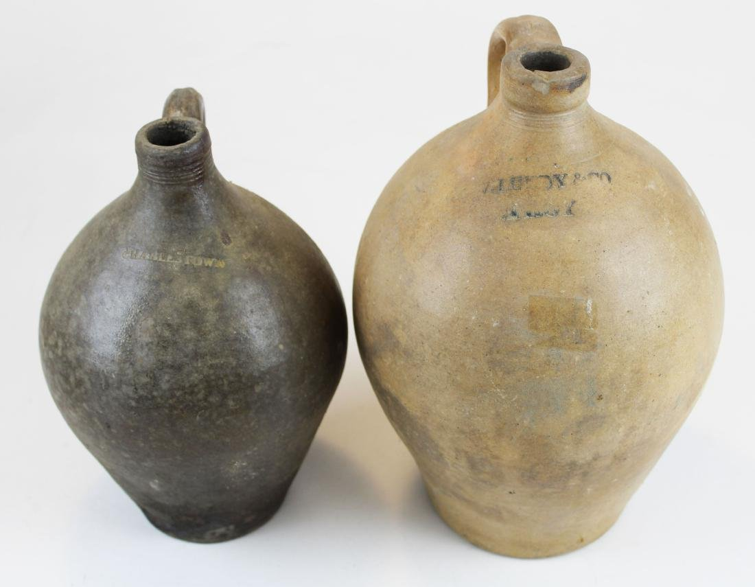 two early ovoid stoneware jugs