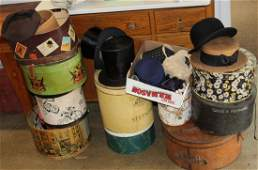 collection of vintage men's and ladies hats